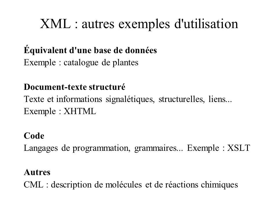 XML : autres exemples d'utilisation Équivalent d'une base de données Exemple : catalogue de plantes Document-texte structuré Texte et informations sig