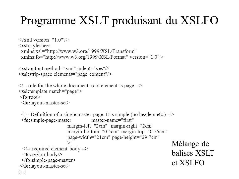 Programme XSLT produisant du XSLFO <xsl:stylesheet xmlns:xsl=