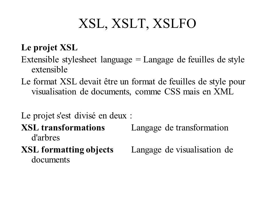 XSL, XSLT, XSLFO Le projet XSL Extensible stylesheet language = Langage de feuilles de style extensible Le format XSL devait être un format de feuille