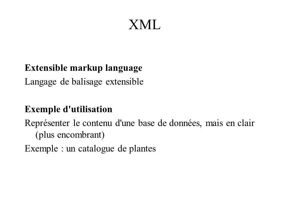 XML Extensible markup language Langage de balisage extensible Exemple d'utilisation Représenter le contenu d'une base de données, mais en clair (plus