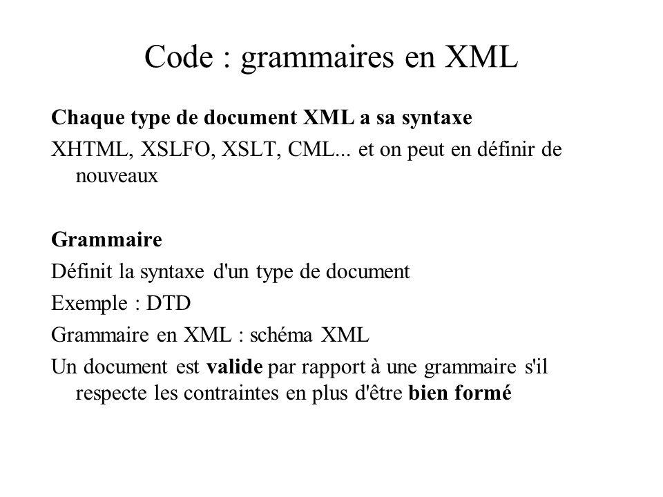 Code : grammaires en XML Chaque type de document XML a sa syntaxe XHTML, XSLFO, XSLT, CML... et on peut en définir de nouveaux Grammaire Définit la sy