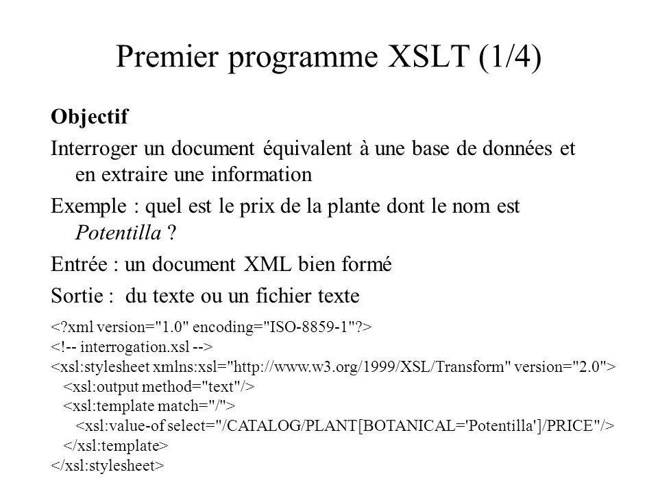 Premier programme XSLT (1/4) Objectif Interroger un document équivalent à une base de données et en extraire une information Exemple : quel est le pri