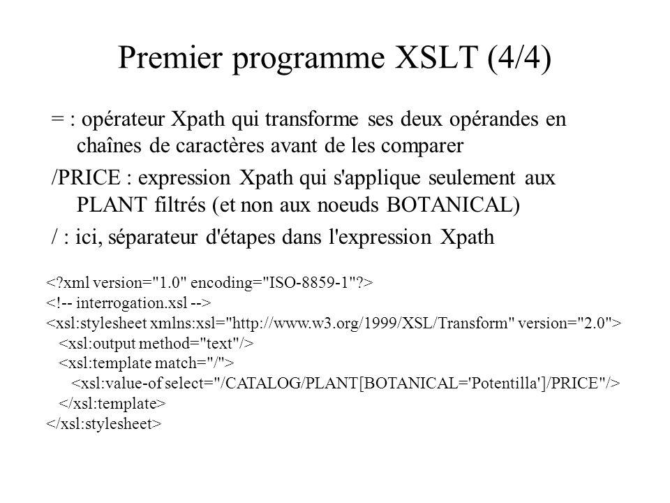 Premier programme XSLT (4/4) = : opérateur Xpath qui transforme ses deux opérandes en chaînes de caractères avant de les comparer /PRICE : expression