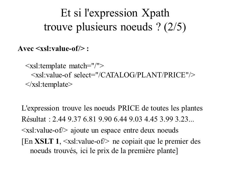 Et si l'expression Xpath trouve plusieurs noeuds ? (2/5) Avec : L'expression trouve les noeuds PRICE de toutes les plantes Résultat : 2.44 9.37 6.81 9