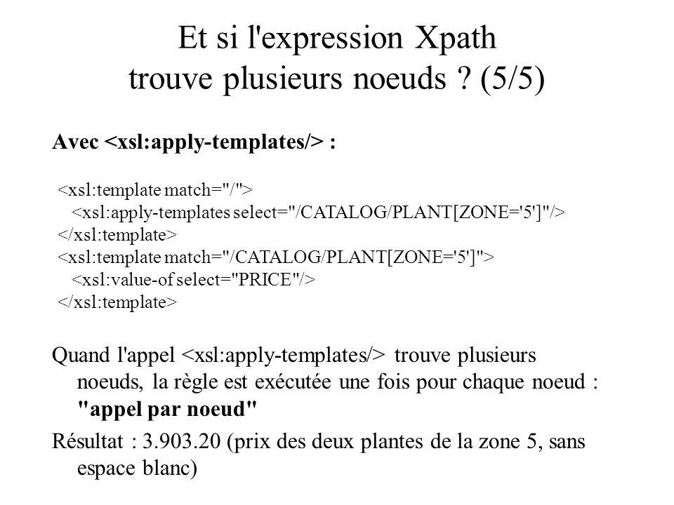 Et si l'expression Xpath trouve plusieurs noeuds ? (5/5) Avec : Quand l'appel trouve plusieurs noeuds, la règle est exécutée une fois pour chaque noeu