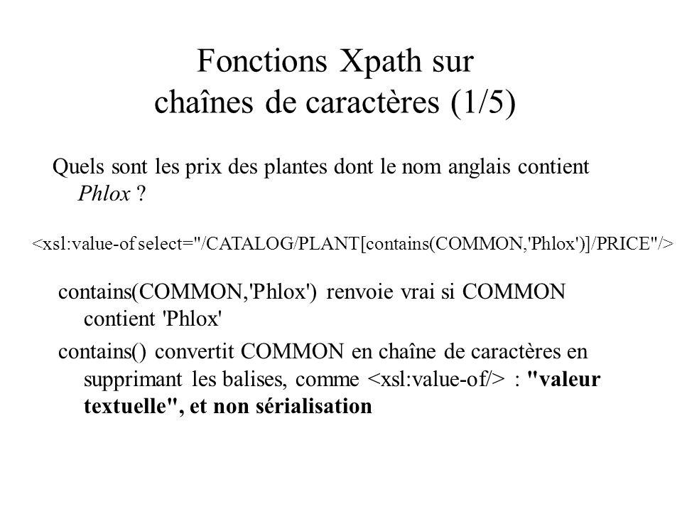 Fonctions Xpath sur chaînes de caractères (1/5) Quels sont les prix des plantes dont le nom anglais contient Phlox ? contains(COMMON,'Phlox') renvoie