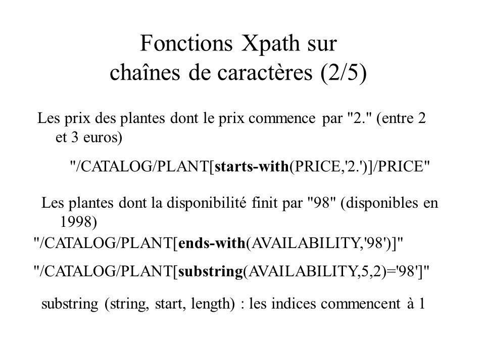 Fonctions Xpath sur chaînes de caractères (2/5) Les prix des plantes dont le prix commence par