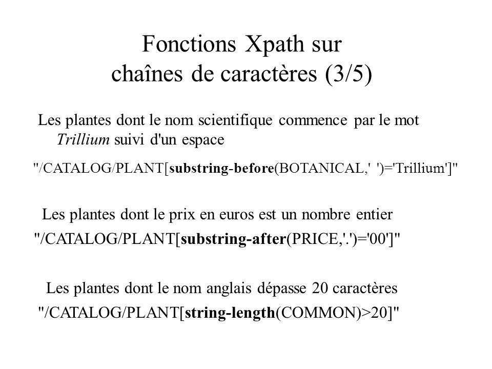 Fonctions Xpath sur chaînes de caractères (3/5) Les plantes dont le nom scientifique commence par le mot Trillium suivi d'un espace