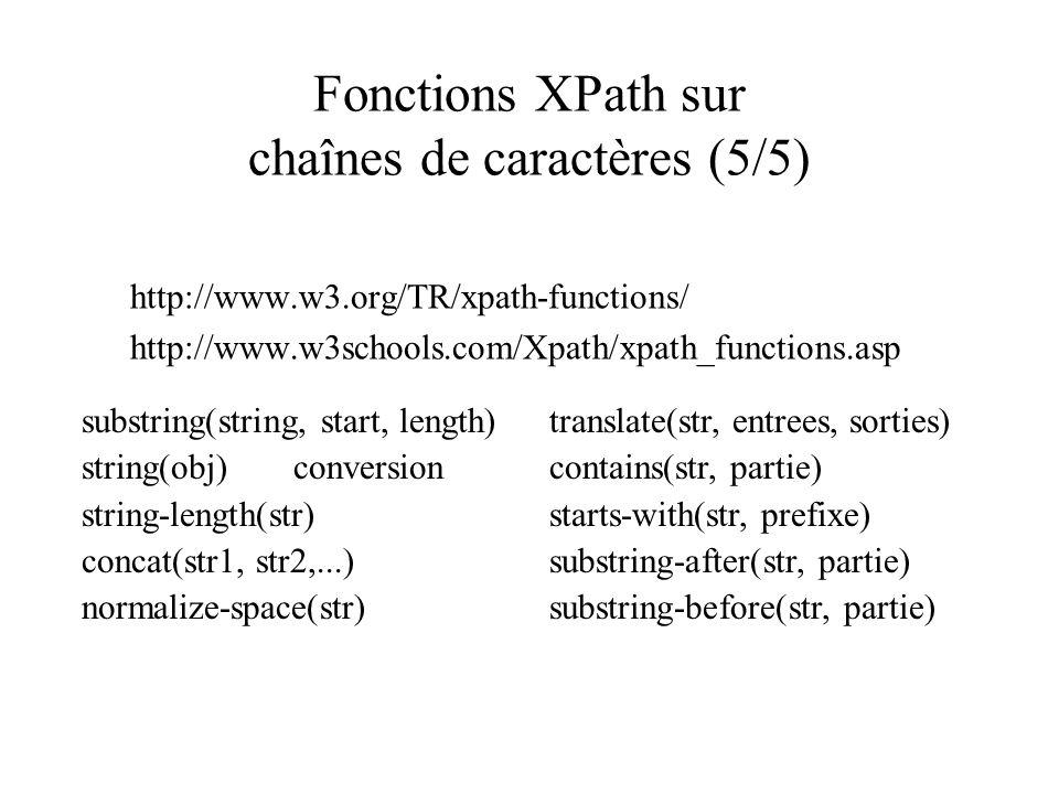 Fonctions XPath sur chaînes de caractères (5/5) http://www.w3.org/TR/xpath-functions/ http://www.w3schools.com/Xpath/xpath_functions.asp substring(str