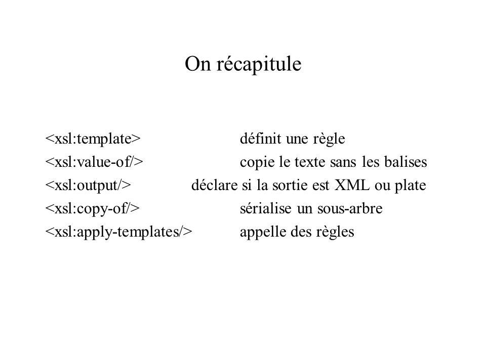 On récapitule définit une règle copie le texte sans les balises déclare si la sortie est XML ou plate sérialise un sous-arbre appelle des règles