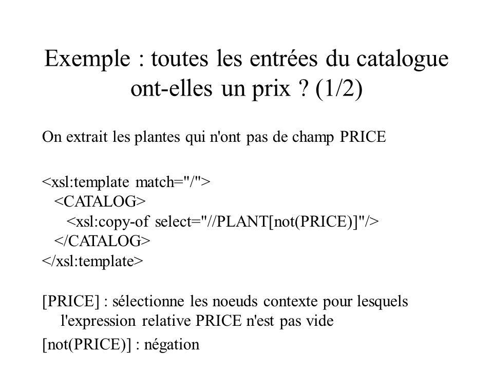 Exemple : toutes les entrées du catalogue ont-elles un prix ? (1/2) On extrait les plantes qui n'ont pas de champ PRICE [PRICE] : sélectionne les noeu