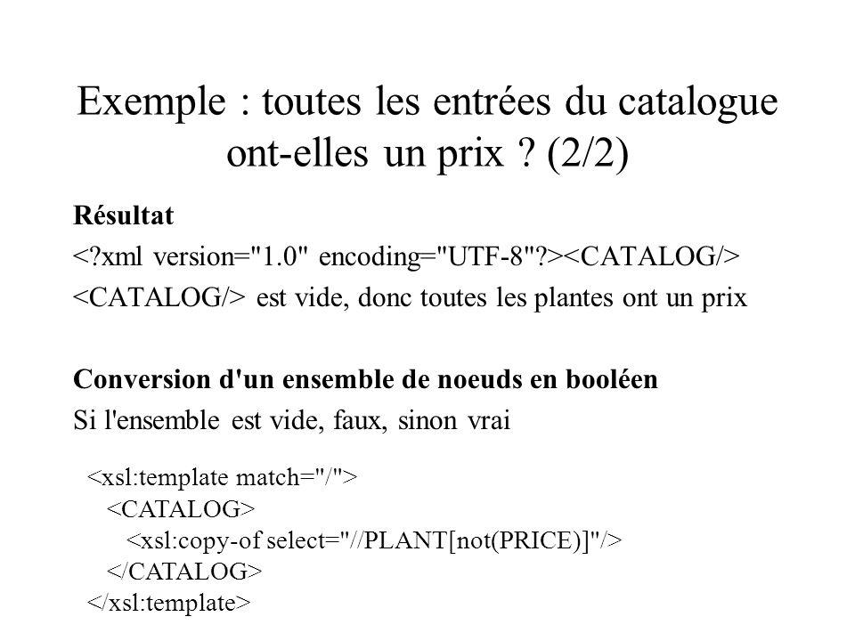 Exemple : toutes les entrées du catalogue ont-elles un prix ? (2/2) Résultat est vide, donc toutes les plantes ont un prix Conversion d'un ensemble de