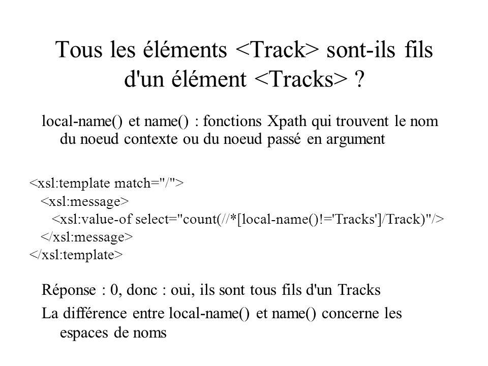 Tous les éléments sont-ils fils d'un élément ? local-name() et name() : fonctions Xpath qui trouvent le nom du noeud contexte ou du noeud passé en arg