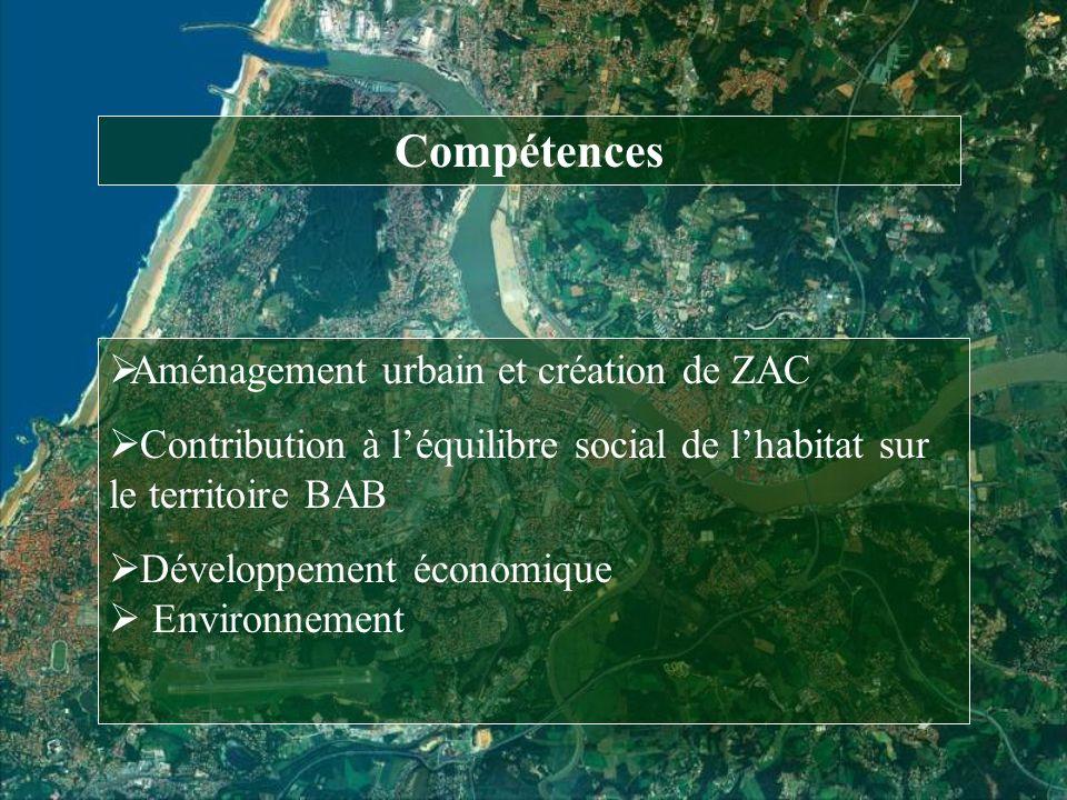 Compétences Aménagement urbain et création de ZAC Contribution à léquilibre social de lhabitat sur le territoire BAB Développement économique Environnement