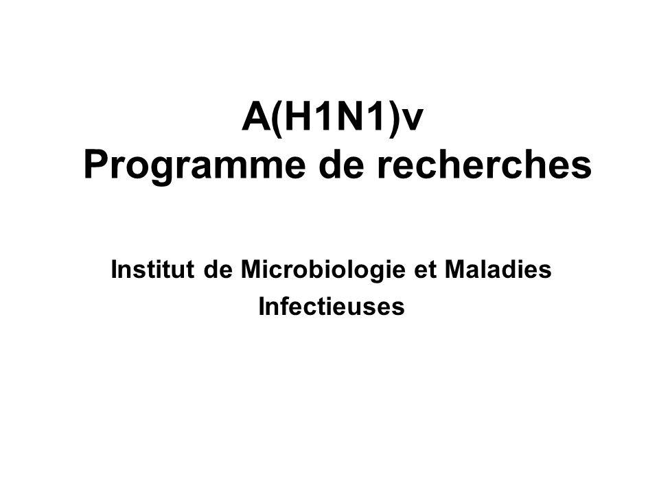 A(H1N1)v Programme de recherches Institut de Microbiologie et Maladies Infectieuses