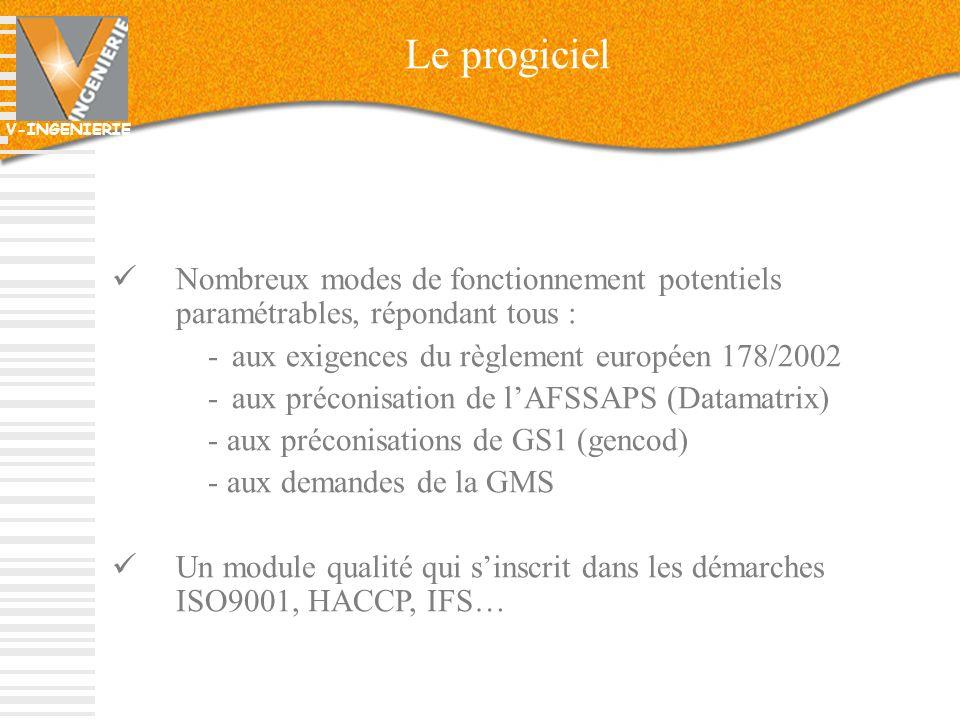 V-INGENIERIE 11 Le progiciel Nombreux modes de fonctionnement potentiels paramétrables, répondant tous : -aux exigences du règlement européen 178/2002