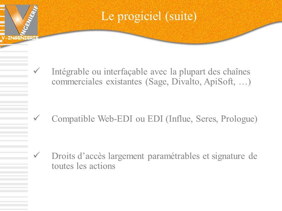 V-INGENIERIE 12 Le progiciel (suite) Intégrable ou interfaçable avec la plupart des chaînes commerciales existantes (Sage, Divalto, ApiSoft, …) Compat
