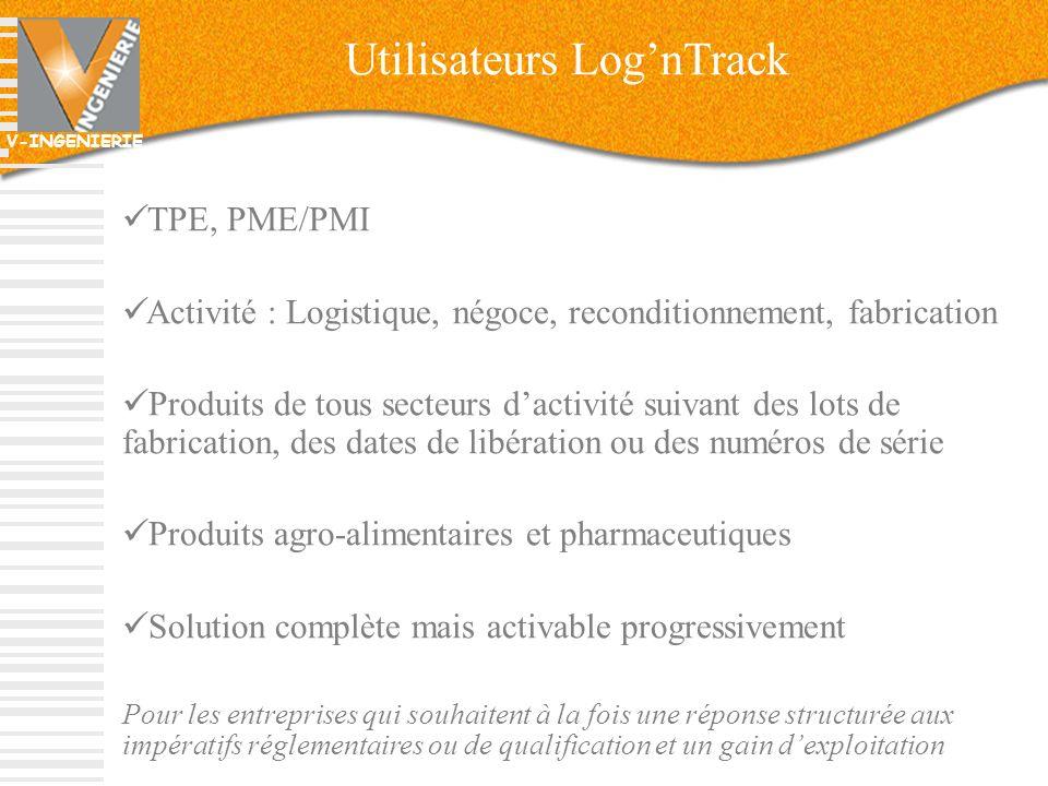 V-INGENIERIE 13 Utilisateurs LognTrack TPE, PME/PMI Activité : Logistique, négoce, reconditionnement, fabrication Produits de tous secteurs dactivité