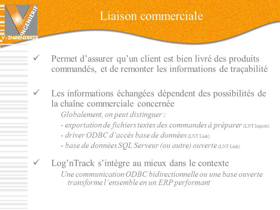 V-INGENIERIE 15 Liaison commerciale Permet dassurer quun client est bien livré des produits commandés, et de remonter les informations de traçabilité