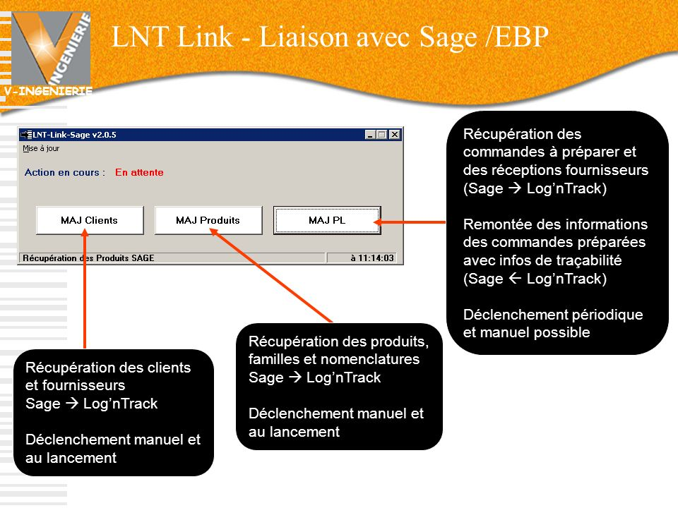V-INGENIERIE LNT Link - Liaison avec Sage /EBP 19 Récupération des clients et fournisseurs Sage LognTrack Déclenchement manuel et au lancement Récupér