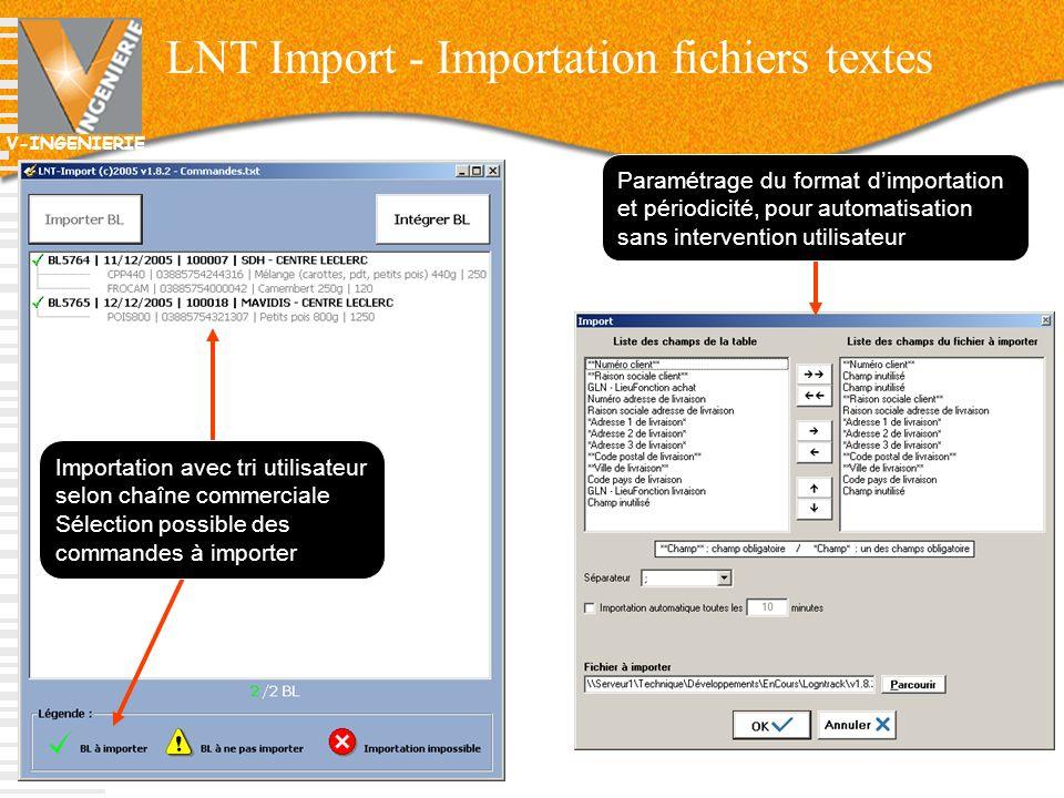 V-INGENIERIE LNT Import - Importation fichiers textes 20 Paramétrage du format dimportation et périodicité, pour automatisation sans intervention util