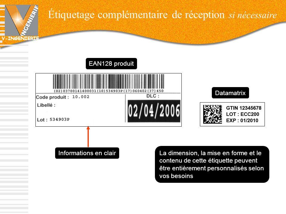 V-INGENIERIE Étiquetage complémentaire de réception si nécessaire 23 EAN128 produit Informations en clair La dimension, la mise en forme et le contenu