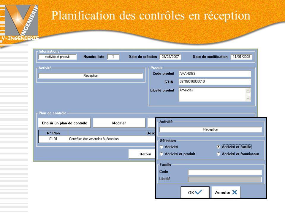V-INGENIERIE 25 Planification des contrôles en réception