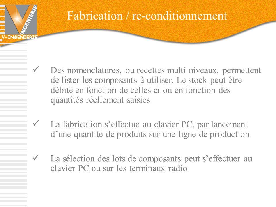 V-INGENIERIE 28 Fabrication / re-conditionnement Des nomenclatures, ou recettes multi niveaux, permettent de lister les composants à utiliser. Le stoc