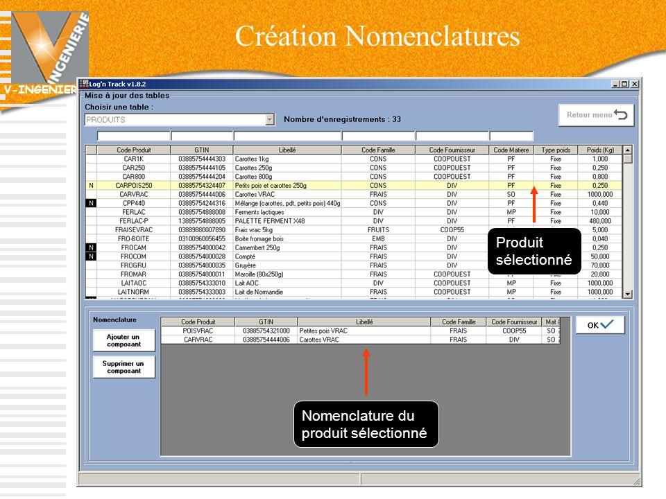 V-INGENIERIE Création Nomenclatures 30 Nomenclature du produit sélectionné Produit sélectionné
