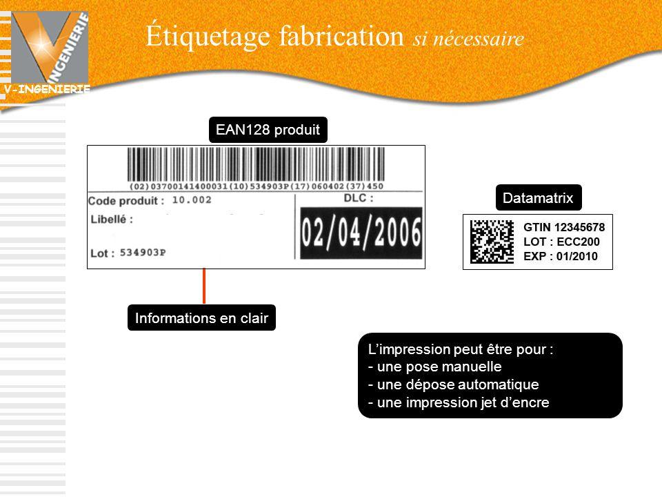 V-INGENIERIE Étiquetage fabrication si nécessaire 33 EAN128 produit Informations en clair Limpression peut être pour : - une pose manuelle - une dépos