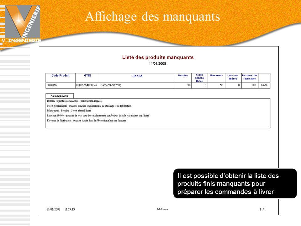 V-INGENIERIE Affichage des manquants 37 Il est possible dobtenir la liste des produits finis manquants pour préparer les commandes à livrer
