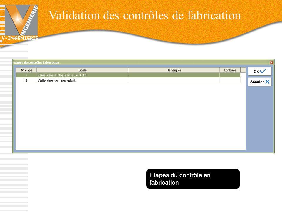V-INGENIERIE 38 Validation des contrôles de fabrication Etapes du contrôle en fabrication