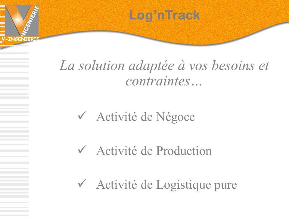 V-INGENIERIE La solution adaptée à vos besoins et contraintes… Activité de Négoce Activité de Production Activité de Logistique pure LognTrack