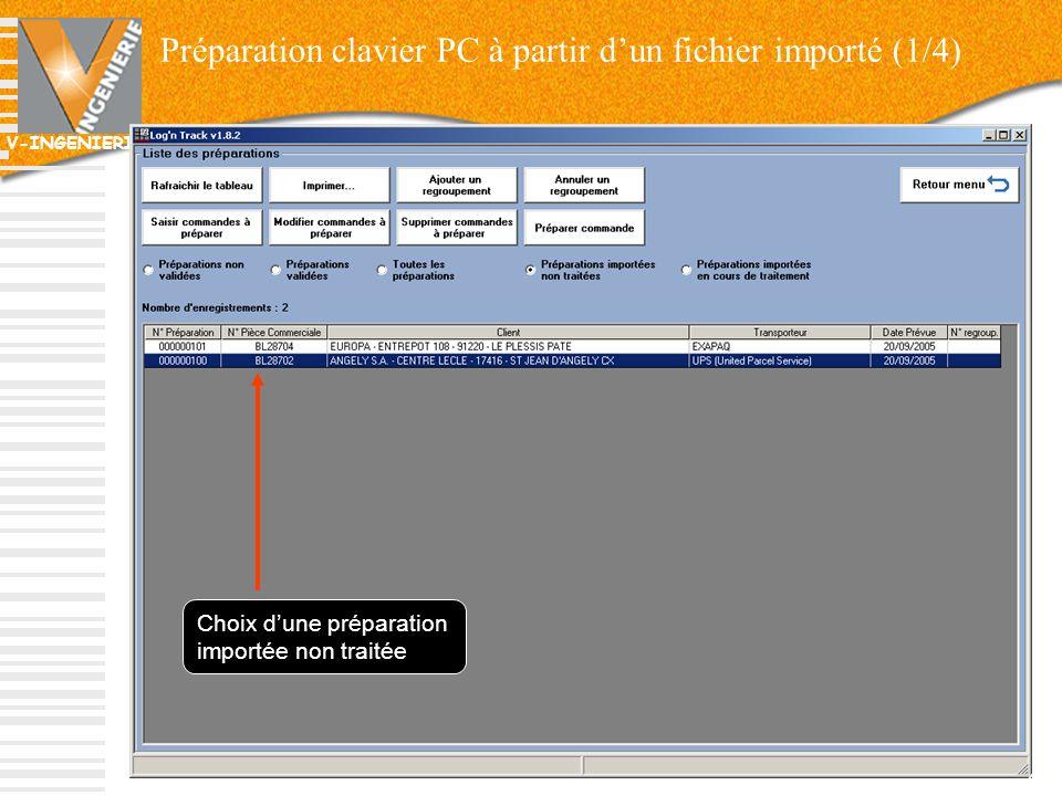 V-INGENIERIE Préparation clavier PC à partir dun fichier importé (1/4) 40 Choix dune préparation importée non traitée