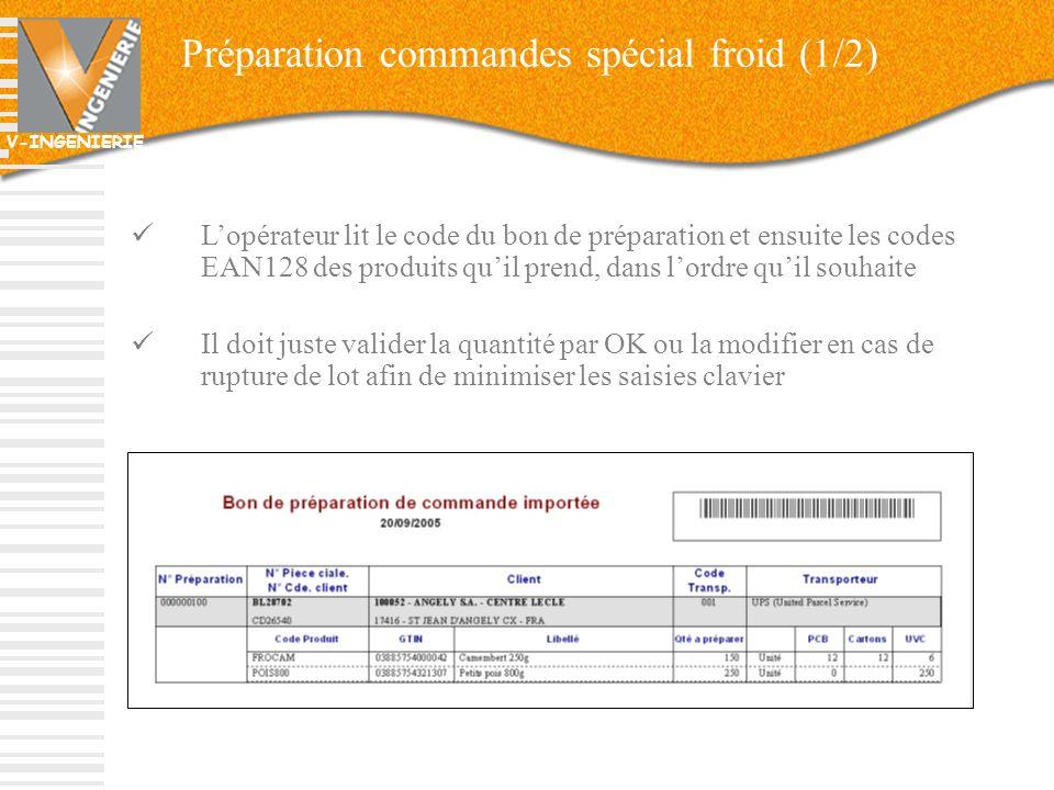 V-INGENIERIE Préparation commandes spécial froid (1/2) Lopérateur lit le code du bon de préparation et ensuite les codes EAN128 des produits quil pren