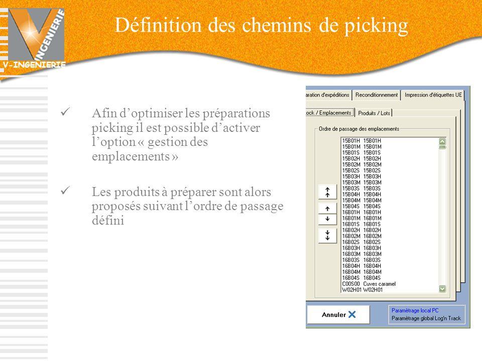 V-INGENIERIE Définition des chemins de picking Afin doptimiser les préparations picking il est possible dactiver loption « gestion des emplacements »