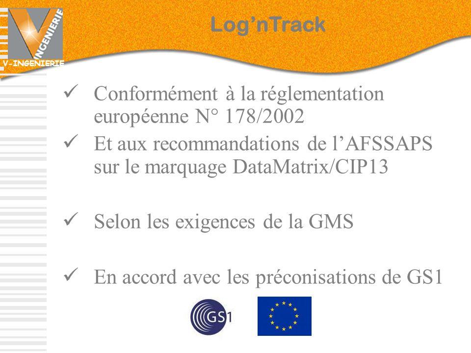 V-INGENIERIE Conformément à la réglementation européenne N° 178/2002 Et aux recommandations de lAFSSAPS sur le marquage DataMatrix/CIP13 Selon les exi