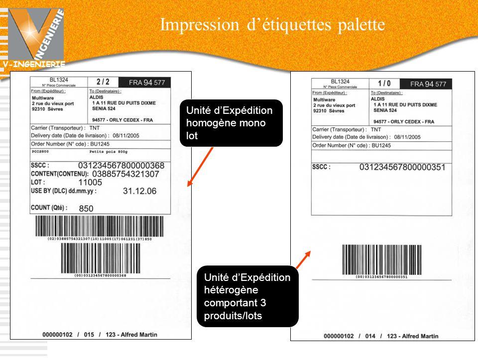 V-INGENIERIE 50 Unité dExpédition hétérogène comportant 3 produits/lots Unité dExpédition homogène mono lot Impression détiquettes palette