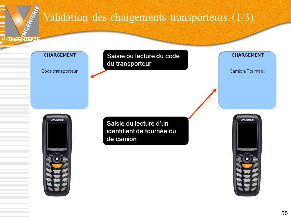 V-INGENIERIE CHARGEMENT Camion/Tournée : --------------- Validation des chargements transporteurs (1/3) 55 CHARGEMENT Code transporteur --- Saisie ou