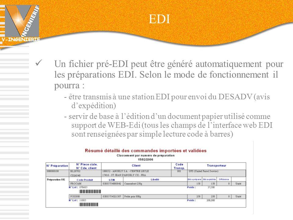 V-INGENIERIE 58 EDI Un fichier pré-EDI peut être généré automatiquement pour les préparations EDI. Selon le mode de fonctionnement il pourra : - être