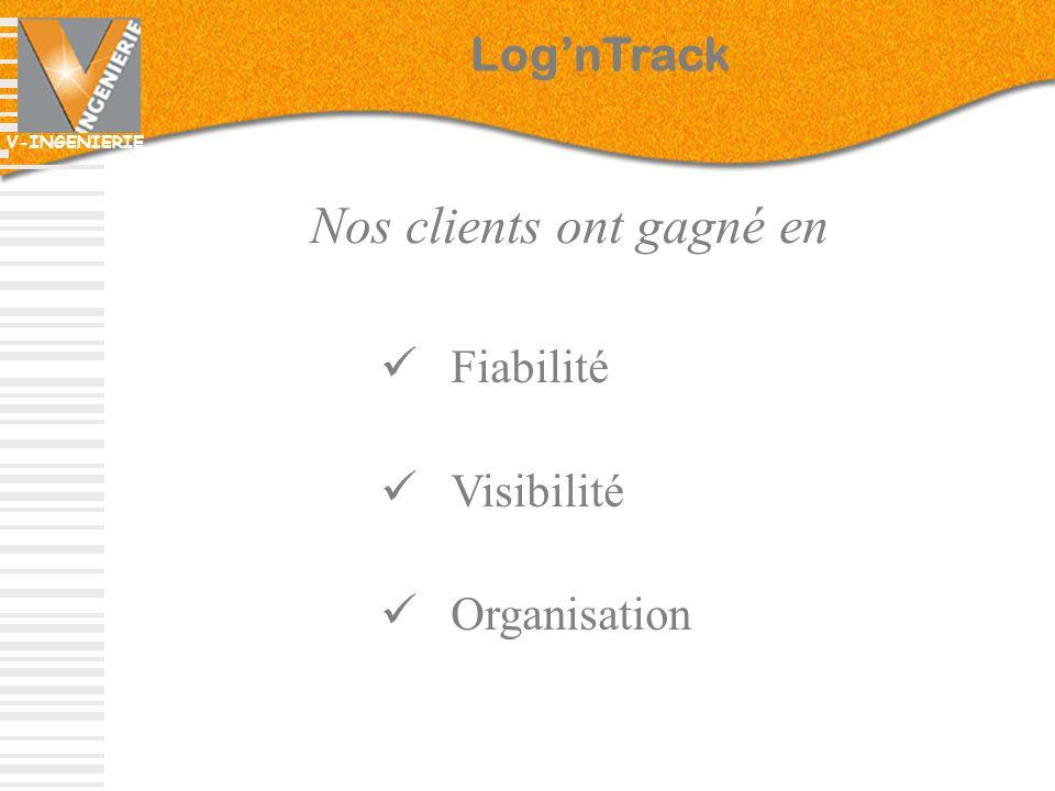 V-INGENIERIE Fiabilité Visibilité Organisation Nos clients ont gagné en LognTrack