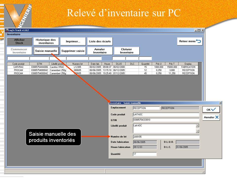 V-INGENIERIE Relevé dinventaire sur PC 61 Saisie manuelle des produits inventoriés