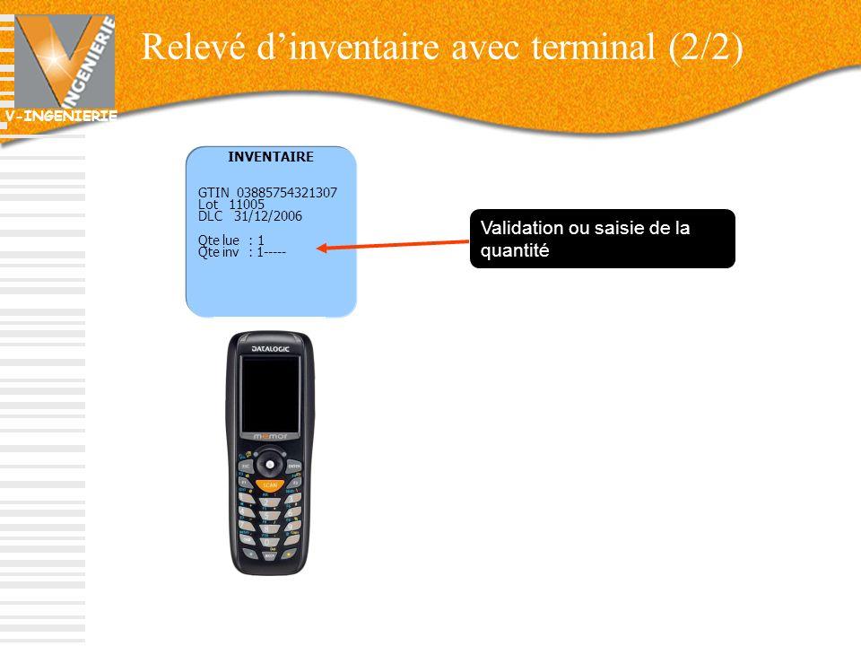 V-INGENIERIE 63 INVENTAIRE GTIN 03885754321307 Lot 11005 DLC 31/12/2006 Qte lue : 1 Qte inv : 1----- Validation ou saisie de la quantité Relevé dinven