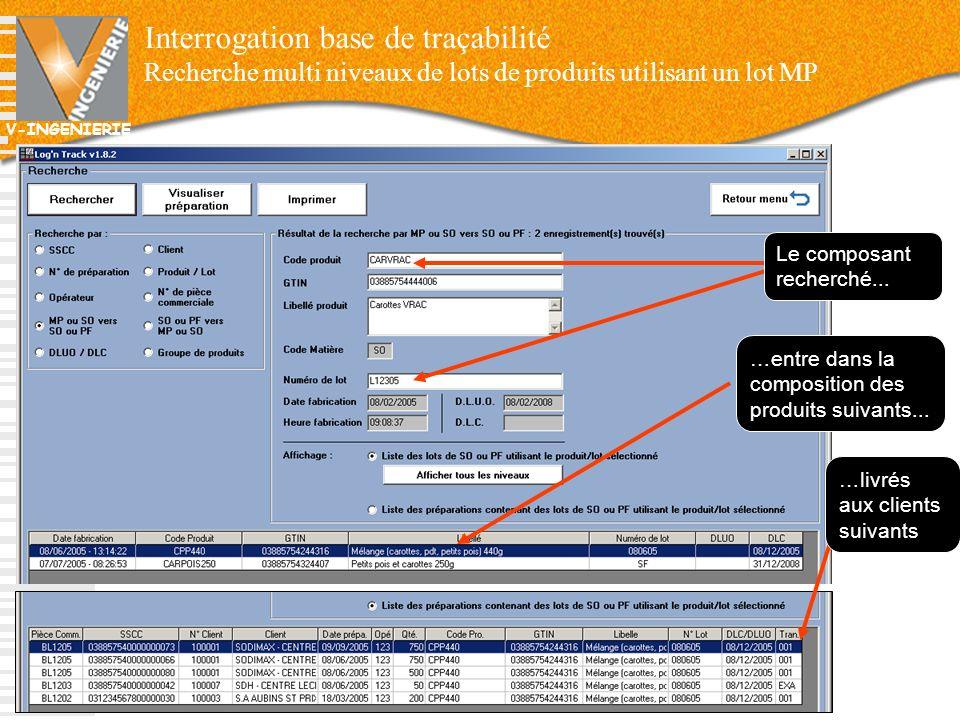 V-INGENIERIE Interrogation base de traçabilité Recherche multi niveaux de lots de produits utilisant un lot MP 66 Le composant recherché... …entre dan