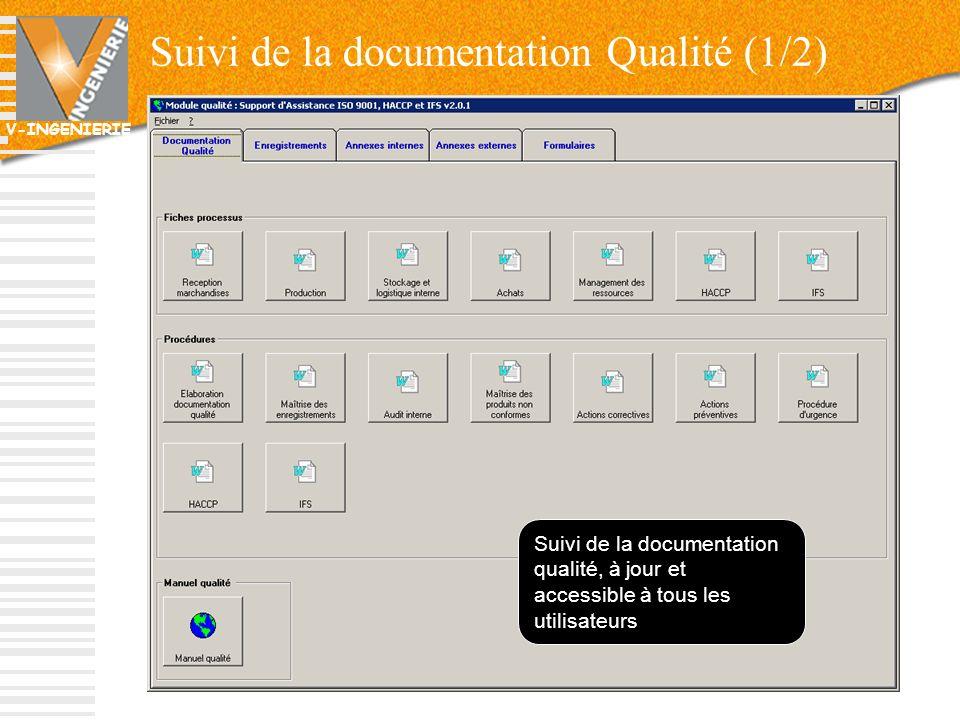V-INGENIERIE Suivi de la documentation Qualité (1/2) Suivi de la documentation qualité, à jour et accessible à tous les utilisateurs 70