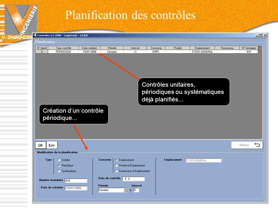 V-INGENIERIE 73 Planification des contrôles Création dun contrôle périodique... Contrôles unitaires, périodiques ou systématiques déjà planifiés...