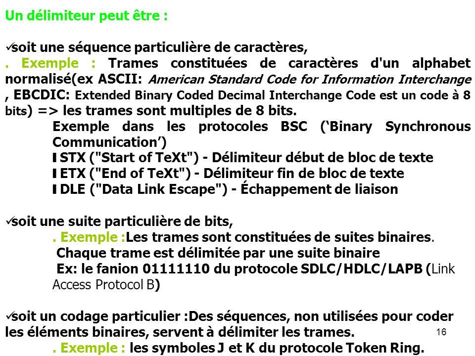 16 Un délimiteur peut être : soit une séquence particulière de caractères,. Exemple : Trames constituées de caractères d'un alphabet normalisé(ex ASCI