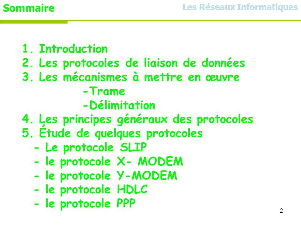 2 Sommaire 1. Introduction 2. Les protocoles de liaison de données 3. Les mécanismes à mettre en œuvre -Trame -Délimitation 4. Les principes généraux