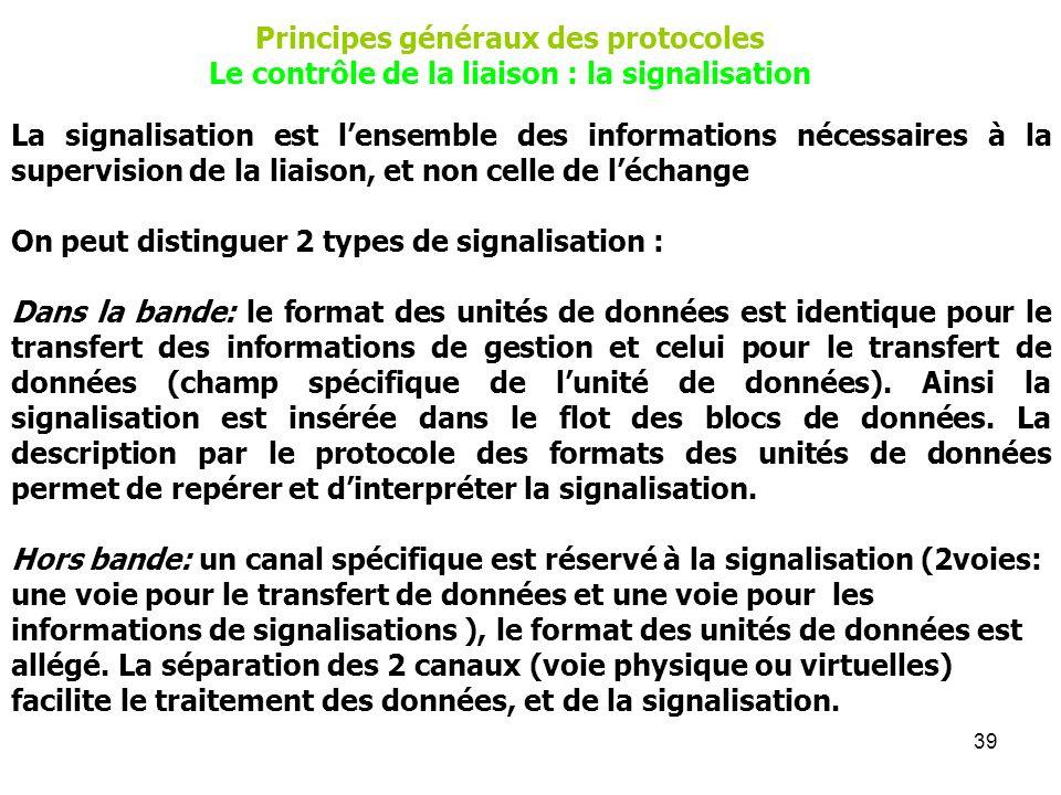 39 La signalisation est lensemble des informations nécessaires à la supervision de la liaison, et non celle de léchange On peut distinguer 2 types de