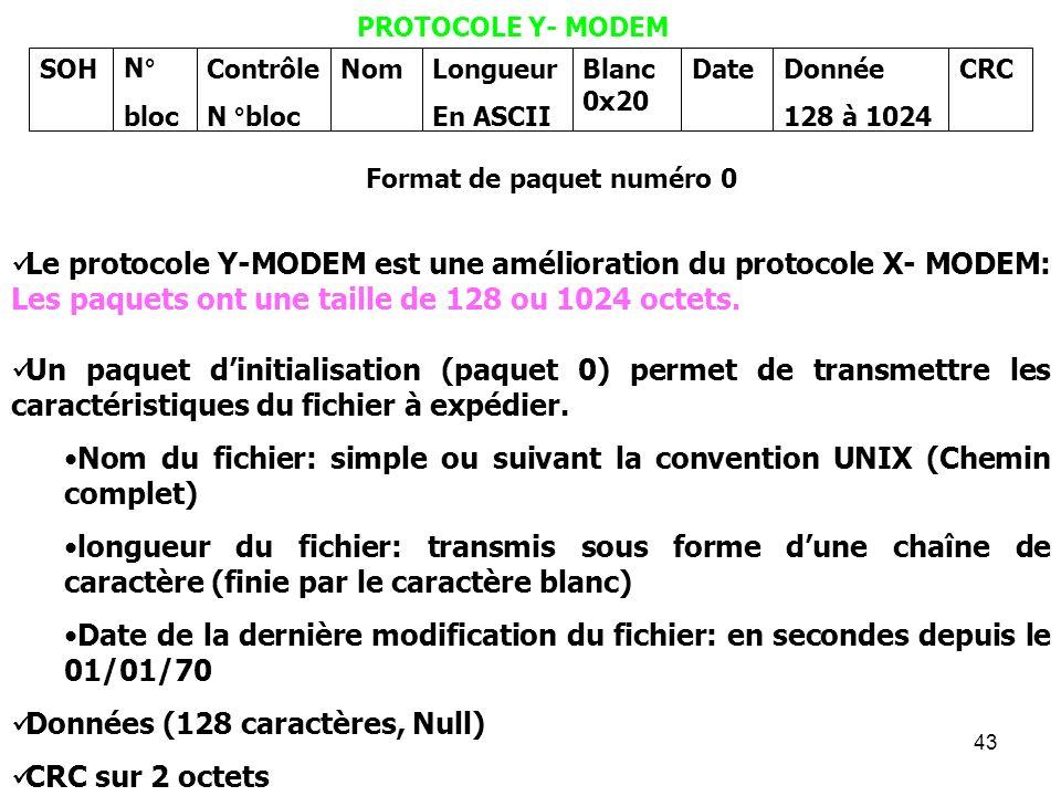 43 PROTOCOLE Y- MODEM Le protocole Y-MODEM est une amélioration du protocole X- MODEM: Les paquets ont une taille de 128 ou 1024 octets. Un paquet din